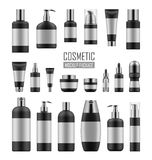 Black and silver cosmetic packages. Mock up of black and silver packages for cosmetic prodact. Set of vector realistic blank templates of plastic containers Royalty Free Stock Photos
