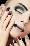 Black silver fashion glamorous manicure and makeup . royalty free stock image