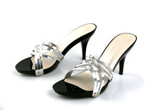Black and Silver Female Shoes Stock Photos