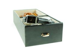 Black with silver female watch in a jewelery case Stock Image