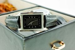 Black with silver female watch in a jewelery case Stock Photo