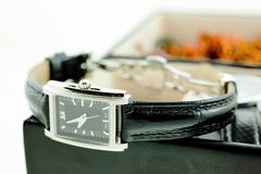 Black with silver female watch in a jewelery case Royalty Free Stock Photography