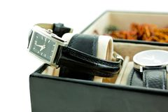 Black with silver female watch in a jewelery case Stock Photography