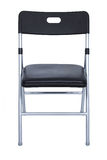 Black And Silver Folding Chair Over White Stock Image