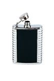 Black and silver hip-flask Stock Photo