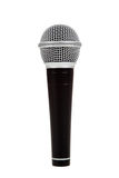 Black and silver microphone on a white background. A black and silver microphone on a white background Royalty Free Stock Image