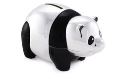 Black and silver panda saving bank Stock Photo