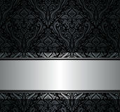 Black  & silver vintage wallpaper. Black & silver vintage floral wallpaper Stock Image