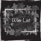 Black and silver wine template with castle, vineyard, grapevine frame. Stock Photos