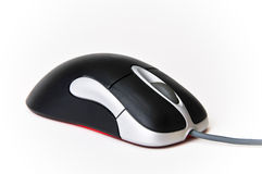 Black and Silver Wired Optical Computer Mouse Stock Photos