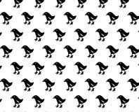 Black simple bird pattern. Simple bird pattern Black and white background for fabric or packing print Stock Photos