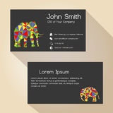 Black simple business card design with elephant eps10 Stock Photography