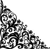 Black simple curled corner ornament Royalty Free Stock Photos