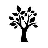 Black simple decorative tree icon isolated on white backg. Round stock illustration