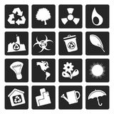 Black Simple Ecology and Recycling icons royalty free illustration