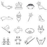 Black simple fairy tales outline icons set eps10 Royalty Free Stock Image
