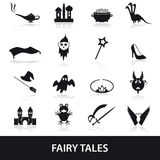 Black simple fairy tales theme icons set Stock Images