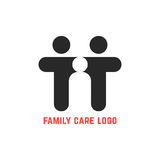 Black simple family care logo. Concept of motherhood, secure, nurture, teamwork, caring, community, protect. isolated on white background. flat style trend Royalty Free Stock Photo