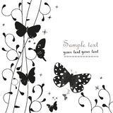 Black simple floral ornamental greeting card with butterfly vector Stock Photo