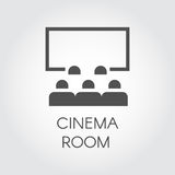 Black simple icon of audience in room cinema or video presentation concept. Design web pictogram Royalty Free Stock Image