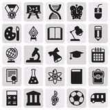 Black simple icon collection. School education. Black simple icon collection - School education. Vector illustration on white background Stock Photos
