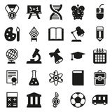 Black simple icon collection. School education. Black simple icon collection - School education. Vector illustration on white background Stock Photography