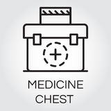 Black simple icon of medicine chest. First aid kit image. Delivery care concept. Logo of medical help service for websites, mobile apps and other design needs Royalty Free Stock Photos