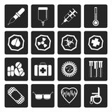 Black Simple medical themed icons and warning-signs royalty free illustration