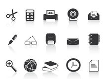Black simple office icons set Stock Photos