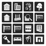 Black Simple Real Estate Icons stock illustration