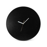 Black simple round wall clock - watch isolated on white backgrou Stock Photo