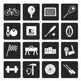 Black Simple Sports gear and tools icons vector illustration