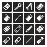Black Simple Vector Object Icons stock illustration