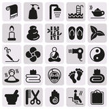 Black simple web icon set - Spa, Beauty. Vector illustration on button Royalty Free Stock Photo