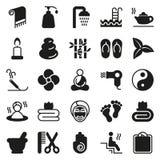 Black simple web icon set - Spa, Beauty. Vector illustration on white background Stock Photo