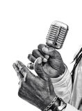 Black Singer hold a microphone  isolated on white Stock Photos