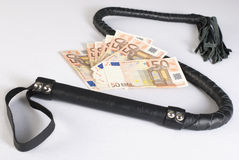 Black Single Tail Whip and money Royalty Free Stock Image