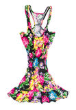 Black singlet dress in floral print Royalty Free Stock Photos