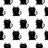 Black sitting cat head with paw print. Cute cartoon character. Baby pet collection. Seamless Pattern Wrapping paper, textile  Stock Image