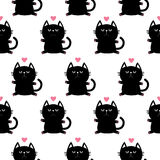 Black sitting cat head with paw print and little pink heart. Cute cartoon character. Baby pet collection. Seamless Pattern  Royalty Free Stock Photos