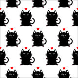 Black sitting cat head with paw print and red heart. Cute cartoon character. Baby pet collection. Seamless Pattern Wrapping paper Stock Images