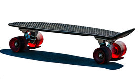 Black skateboard with red wheels Stock Images
