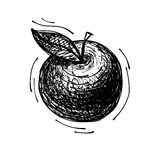 Black sketch drawing of apple Royalty Free Stock Images