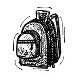Black sketch drawing of backpack Stock Photos