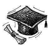 Black sketch drawing of cap of master's degree. Vector illustration Stock Photo