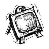 Black sketch drawing of easel Royalty Free Stock Photography