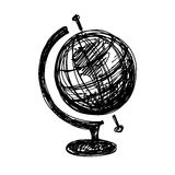 Black sketch drawing of globe Royalty Free Stock Photos