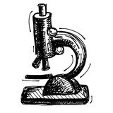 Black sketch drawing of microscope Stock Photo