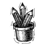 Black sketch drawing of pencils Royalty Free Stock Image
