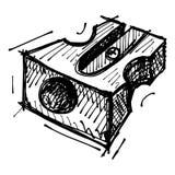 Black sketch drawing of sharpener Royalty Free Stock Photo